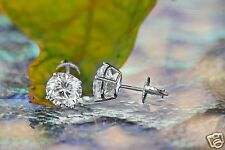 2.0 ct Round Cut Solitaire Stud Earrings in Solid 14k White Gold Screw Back