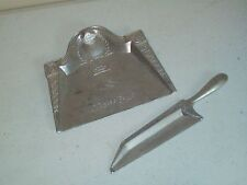 Vintage aluminum Crumb Tray Silent Butler Art Deco etched beautiful collectible