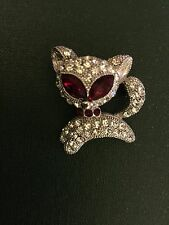 Sparkly Prancing Cat / Animal Brooch - with Red Eyes and Collar