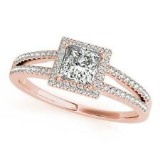 NEW LADIES 14k ROSE GOLD DIAMOND SEMI-MOUNT HALO PRINCESS CUT ENGAGEMENT RING