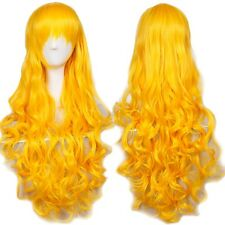 Women Cosplay Long Curly Full Wig HOT Girl Fashion Anime Party Dress Wig Yellow