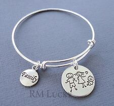 Expandable wire bangle bracelet plane Adjustable Stackable w/ two Family charms