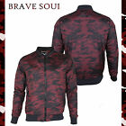 Mens Brave Soul Red Camouflage Military Baseball Varsity Collar Bomber Jacket