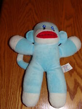 "10"" Babys First Soft Blue & White Sock Monkey Plush Animal EUC Sanitized"