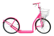 "20"" Adult SCOOTER Kick Foot Bike Basket Hand Brake Racing Wheels Amish Made PINK"