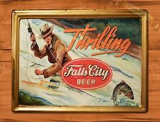 "TIN-UPS TIN SIGN ""Falls City Beer"" Garage Rustic Fishing Wall Decor"