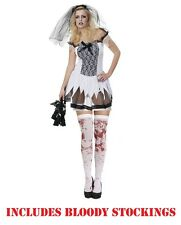 Sexy Zombie Corpse Undead Bride Veil Adult Ladies Halloween Fancy Dress Costume