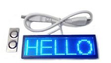 BLUE 12*48 LED PROGRAMMABLE SCROLLING NAME BADGE TAG MESSAGE SIGN RECHARGEABLE