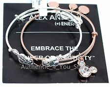 NWT Disney ALEX AND ANI Mickey Minnie Heart Valentine's Day Charm Bracelet SET