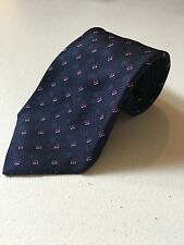 $215 Kiton Made in Italy Navy Blue Square Pattern 100% Silk Neck Tie