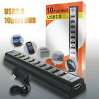 New 10 Port High Speed USB 2.0 Hub Expansion + Power Adapter for Notebook PC US