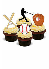 AMERICAN BASEBALL 12 STAND UP Edible Cake Toppers Premium Wafer Paper Standups