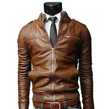 Men's Fit Motorcycle Coat PU Leather Jacket for Autumn Winter Fashion Hot  XT