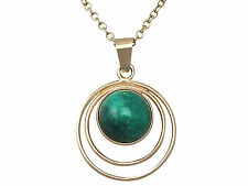 Vintage Green Agate and 14ct Yellow Gold Pendant - Circa 1940