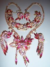 VTG JULIANA D&E BOOK PIECE PINK LILAC RHINESTONE NECKLACE BRACELET EARRING SET