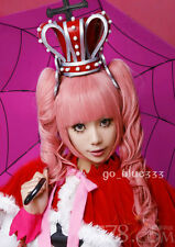 TT-1108 New Perona ONE PIECE Long Curly Pink Cosplay wig + 2 Ponytails