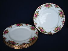"Set of 6 Royal Albert OLD COUNTRY ROSES 10.5"" Dinner Plates ENGLAND"
