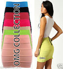 Womens New Ladies Bodycon Fitted Zip Ribbed Mini Pencil Skirt Stretch Short 6-16