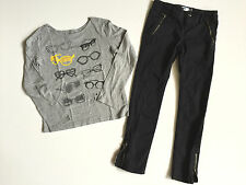 Girl Back To School Outfit Denim Old Navy Pants & Gap Cotton T-Shirt Size 7-8