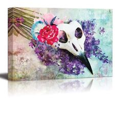 Beautifully Painted Animal Skull on a Bed of Flowers - Canvas Art- 24x36 inches