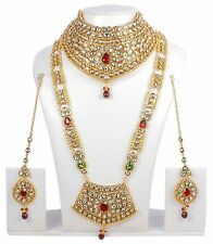Indian Bollywood Style Gold Plated Bridal Kundan-Ruby Jewelry Necklace Set 376