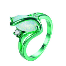 White Fire Opal S Shape Ring Green Gold Filled Wedding Band Jewelry Sz6,7,8,9,10