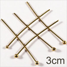Lot of 50 nails Rods with head Balls 3cm Golden for jewelery creation