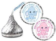 216 BLUE ELEPHANT OR PINK ELEPHANT BABY SHOWER HERSHEY KISS KISSES LABELS