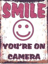 SMILE YOU'RE ON CAMERA  METAL SIGN RETRO VINTAGE STYLE SMALL