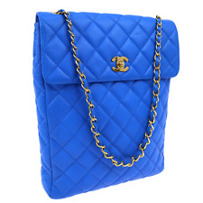RARE! Authentic CHANEL Quilted CC Logos Chain Shoulder Bag Blue Leather V08363