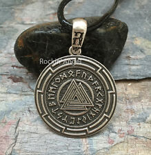 Antique Silver Plt Rune Valknut Pendant Necklace Ladies Mens Gift Viking Norse 2