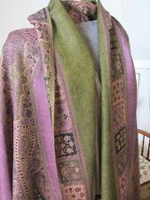 Hand woven warm woollen shawl in golds and soft pink.