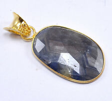 Blue Sapphire 925 Sterling Silver Gold Plated Pendant Jewelry Sz 5.8 Cm NY-A6752