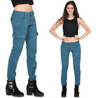 Ladies Womens Teal Blue Slim Skinny Stretch Combat Pants Cargo Trousers Jeans
