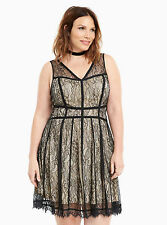 NWT Torrid black lace and nude dress size 22