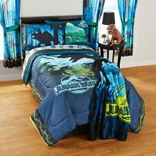 8PC Jurassic World Dinosaur twin single BEDDING SET COMFORTER SHEETS CURTAIN NEW