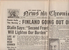 WW2 Wartime Newspaper News Chronicle November 7 1941 Finland Going Out of War