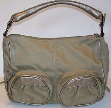 New CHRISTIAN LIVINGSTON taupe & bronze OUTSIDE POCKETS hobo BAG leopard lining