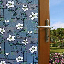 45x100cm FLORAL Privacy Stained Glass Decorative Window Film Vinyl Static Cling