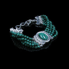 GORGEOUS QVC .925 Sterling Silver 5 Strand Beaded Natural Malachite Bracelet