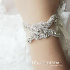 Vintage Bridal Wedding Rhinestone Crystal Applique Ribbon Bracelet Jewelry