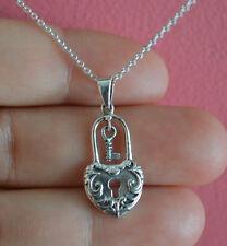 925 Sterling Silver Lock Key Heart Shape Charm Necklace - Lock Heart Necklace