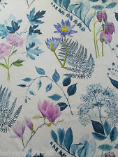 Designers Guild Curtain Fabric MOKUREN 3.6m Indigo Cotton Floral Design 360cm