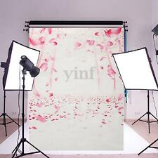 5x7ft Pink Flower Petals Wedding Vinyl Backdrop Photography Props Background
