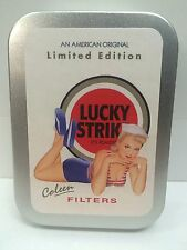 Lucky Strike Coleen 50s Pin-up Girl Advertising Cigarette Tobacco 2oz Hinged Tin