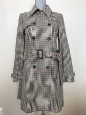 New J.Crew Sz 6 #F6027 Check Icon Trench Coat Houndstooth Jacket Burgundy Tan