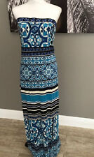 Hale Bob Cabana Strapless Tube Blue Maxi Dress Size Large