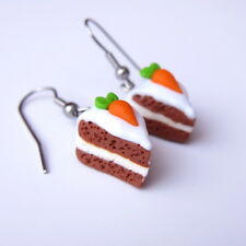 Carrot Cake Polymer Clay Spring Easter Miniature Food Gift Idea Earrings Jewelry
