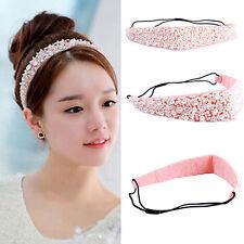 Womens Vivid Faux Pearl Beads Crystal Headband Hairband Elastic Hair Head Band