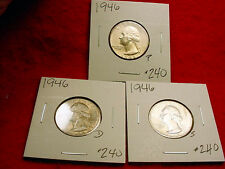 1946-P/D/S WASHINGTON QUARTERS VERY NICE BU 3 COIN SET!!    #240